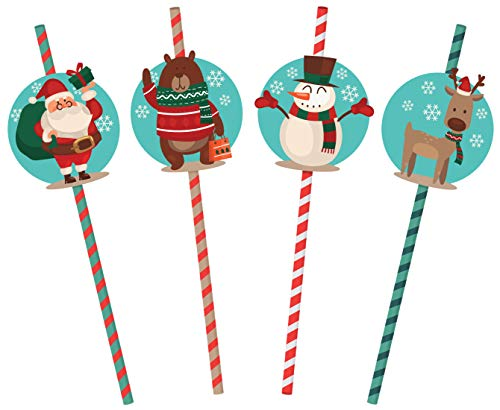 32 Christmas Straws   Paper Straws for Goodie Bags and Parties   Vintage Christmas Santa Claus, Reindeer, Snowman and Bear