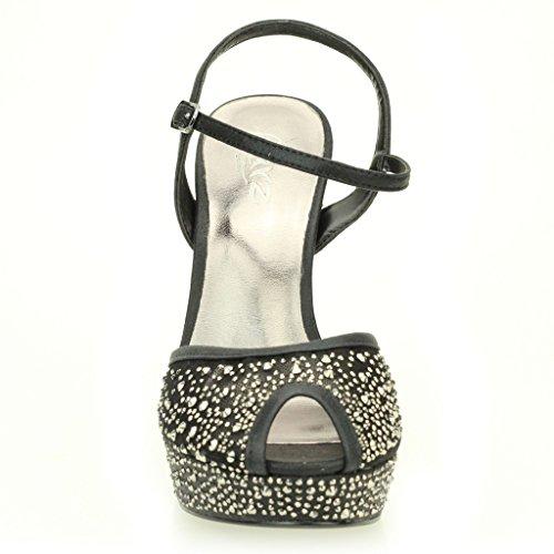 Mujer Señoras Noche Boda Party Alto tacón Stiletto Diamante Peep Toe Nupcial Plataforma Sandalia Zapatos tamaño (Oro, Plata, Negro) Negro