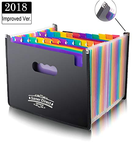 Expanding Files Folders, 24 Pockets Multi-Color Accordion A4 Documents File Bill Letter Organiser, Plastic Portable Filling Storage with Big Capacity Expandable Wallet Stand ()