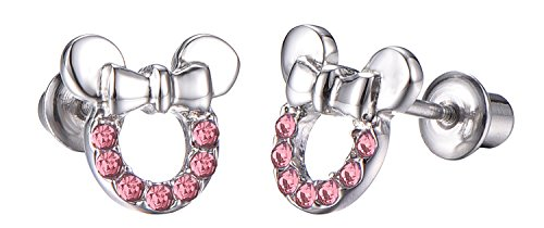 Baby Girls Screwback Pink Earrings, Mouse Cubic Zirconia, Pink Mouse Screw Back Earrings for Little Girls with Stainless Steel Post