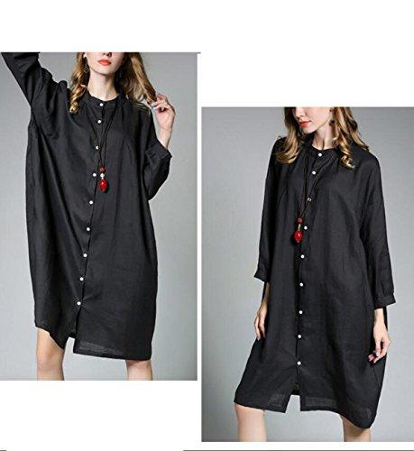 E Cotone Sezione Camicia Chlxi Lunga Black A In Collo Con Grande Donna q4OABWfRn