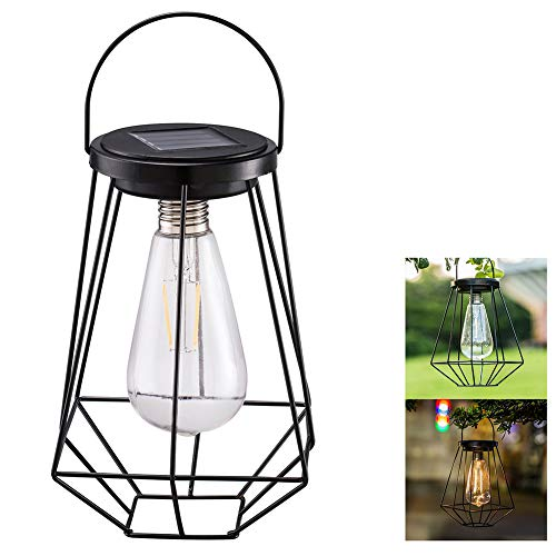- Solar Lamp, Table Filament Outdoor Rustless Iron Net Decorative Geometric Tungsten Bulb Courtyard Vintage Hanging Lantern Camping Garden(Black)