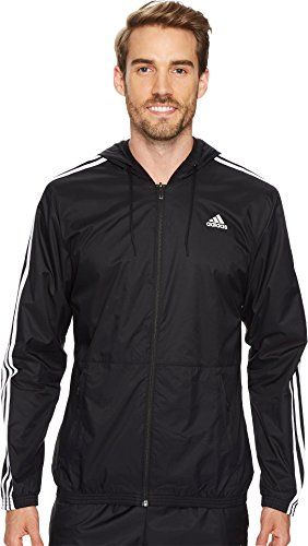 adidas Men's Essentials Wind Jacket, Black/Black/White, Medium by adidas
