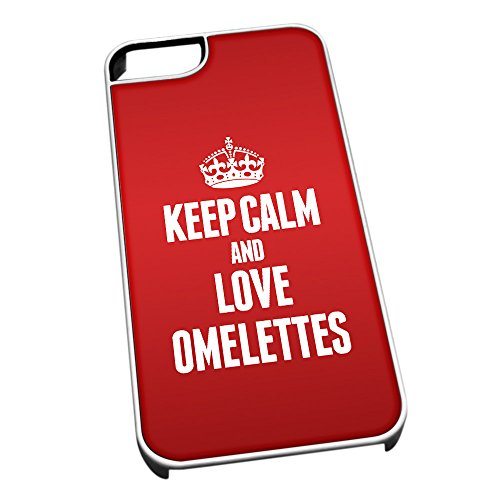 Bianco cover per iPhone 5/5S 1326 Red Keep Calm and Love omelette