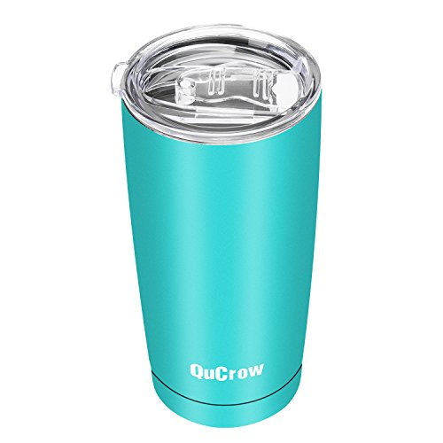 Turquoise Lid (QuCrow 20oz Vacuum Insulated Tumbler - Double Wall Stainless Steel Tumbler with Lid- Coffee Travel Mug - Shiny Finish with Leak/Splash Proof Lid - Turquoise)