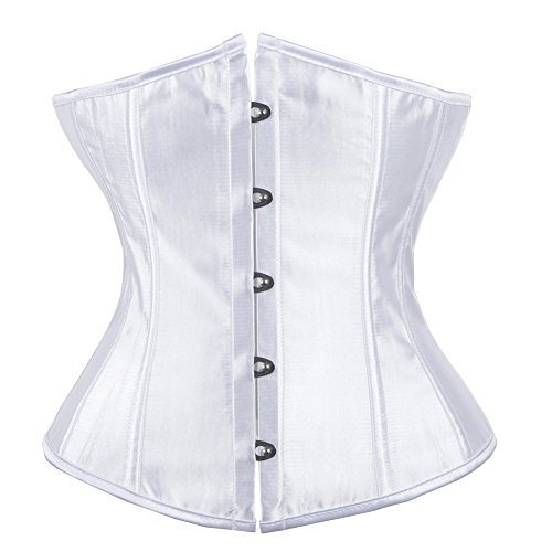 TINGLU Women's White Underbust Corset Plus Size for Waist Training Satin Fashion Costume Bustier Tops (Bustier White Corset)