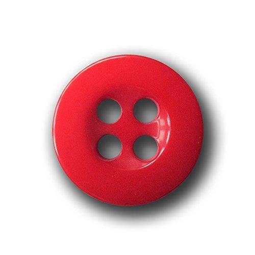 Knopfparadies - 10er set kleine freche rote Vierloch Kunststoff Knöpfe für Blusen, Hemden & Puppen / rot / Kunststoff / Ø ca. 11mm