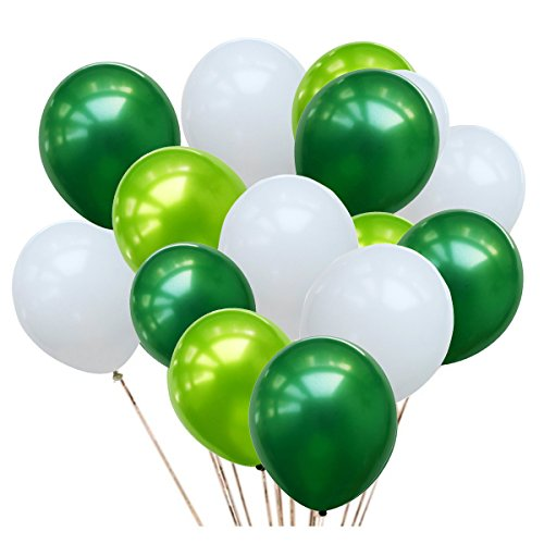 50 Pcs 12inch Green and White Balloons,3 Color White Light Green Balloons and Dark Green Balloons for Birthday Wedding Party Spring Decorations