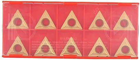Jarchii Wolframstahl, 10-teiliges dreieckiges Hartmetallwerkzeug aus Hartmetall Einsatz CNC-Drehwerkzeug für die Endbearbeitung und Halbveredelung von Stahl