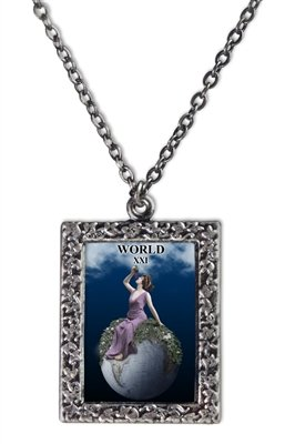 NoMonet Artisan Necklace - The World Tarot Card Necklace