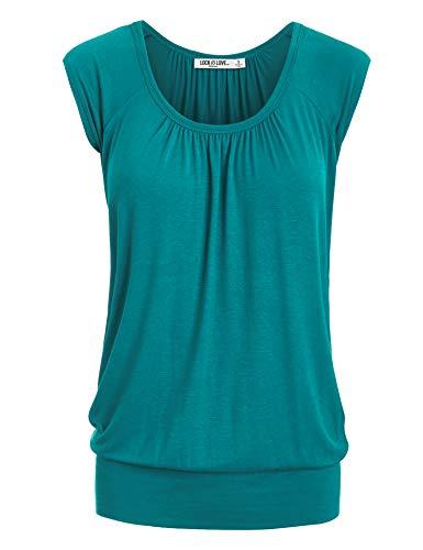 WT1054 Womens Solid Short Sleeve Sweetheart Top XL Jade
