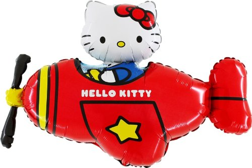 37 Hello Kitty In Red Helicopter Foil Balloon - Inflate With Air/Helium (CS82) by Balloonshop