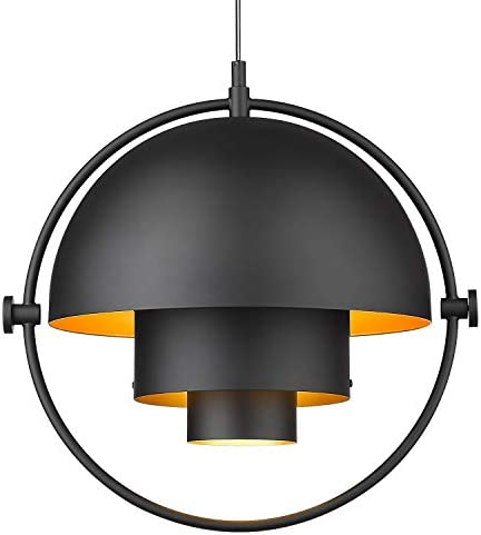 Industrial Metal Pendant Light, LMS Adjustable Hanging Light Fixture, Kitchen Pendant Lighting with Matte Black and Gold Hemispherical Lamp Shade LMS-016