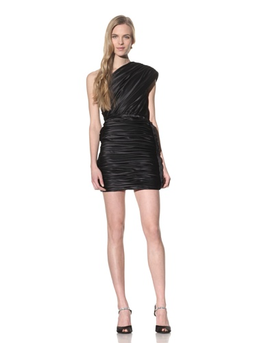 cache black satin dress - 5