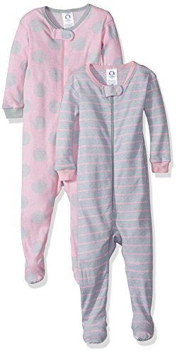 Gerber Baby Girls 2 Pack Footed Sleeper, Big Dots/Stripes, 12 Months