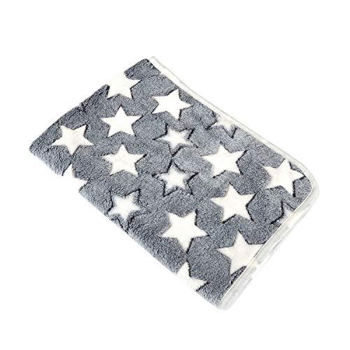 Glittering time-Dog Beds Soft Flannel Fleece Star Print Warm Pet Blanket Sleeping Bed,Gray,20X20CM