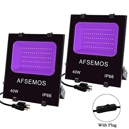40W UV LED Black Light, UV Light with Plug, AFSEMOS IP66 Waterproof UV Light,for Indoor and Outdoor Blacklight Party, Stage Lighting, Aquarium, Fluorescent Effect, Glow in The Dark Curing (2 Pack)