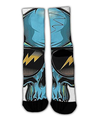 (YEAHSPACE Fun Men Women Dress Socks Cool Glasses Skull Art Novelty Colorful Patterned Funny Crew Socks, Christmas Stockings Socks Winter Warm Holiday Slippers)