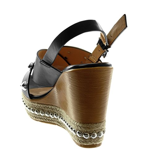 Tobillo Zapatillas Correa Madera Plataforma Sandalias cm Mules 10 Mujer Negro Perla de Angkorly Tachonado Plataforma Moda SBTUTwY