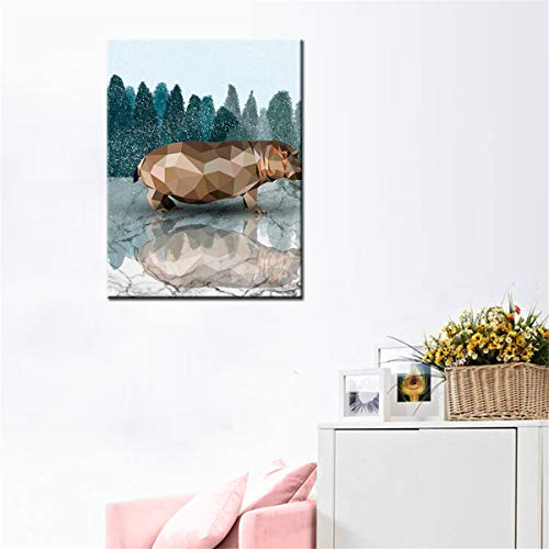 NEAER Ostrich Rhinoceros Abstract Painting Canvas Wall Art Decor Modern City New York View Painting Artwork for Living Room Bedroom Office Home Decoration