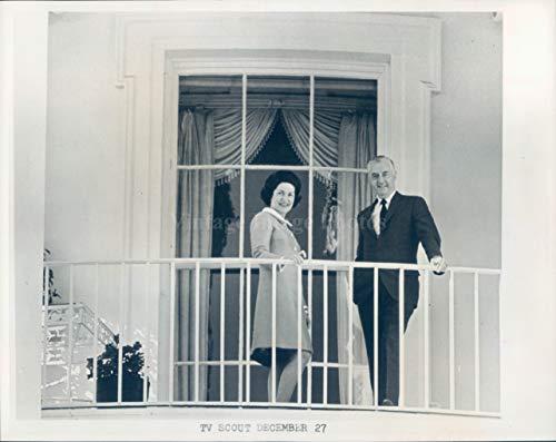 Vintage Photos 1968 Photo Lady Bird Johnson Howard K Smith TV Scout Politics Balcony People