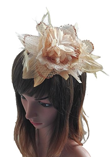 [Removable Fascinators Hair Clip Head Hoop Headband Brooch Flower Derby Party Wedding (Camel)] (Ganster Hat)