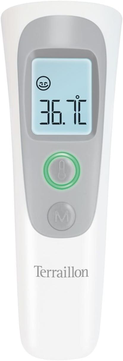 Terraillon Thermometer Speicherung der 9 letzten Messungen Ber/ührungsloses Infrarot-Messger/ät Wei/ß//Grau F/ür K/örper Fl/üssigkleiten und R/äume Gegenst/ände