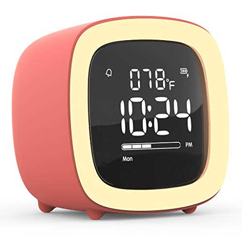 Kids Alarm Clock, Cute-TV Night Light Alarm Clock for Kids, Girls, Children, Bedroom, Rechargeable Battery Operated Alarm Clock with Sleep Timer, Indoor Thermometer - Living Coral