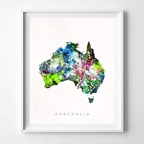 (Australia Watercolor Map Wall Art Poster Home Decor Print Watercolour Artwork - Unframed)