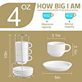 SWEEJAR Porcelain Espresso Cups with Saucers, 4