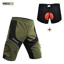 WOSAWE Men Mountain Loose-Fit Cycling MTB Shorts Plus Padded Underwear