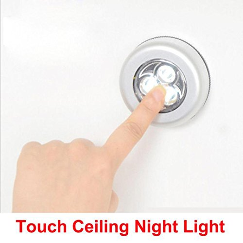 Battery Powered Light, Leyorie 2Pcs LED Wireless Night Light Stick on Tap Touch Lamp Lights for Kitchen, Bedroom, Stairs, Bar, Car