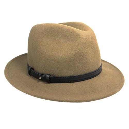 Nine West Women's Felt Flat Brim Fedora Hat, Taupe (One Size)