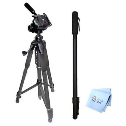 SAVEoN 75'' Tripod + 72'' Monopod + SAVEoN MicroFiber Cleaning Cloth for Fujifilm X-E1 Digital Camera by SAVEoN