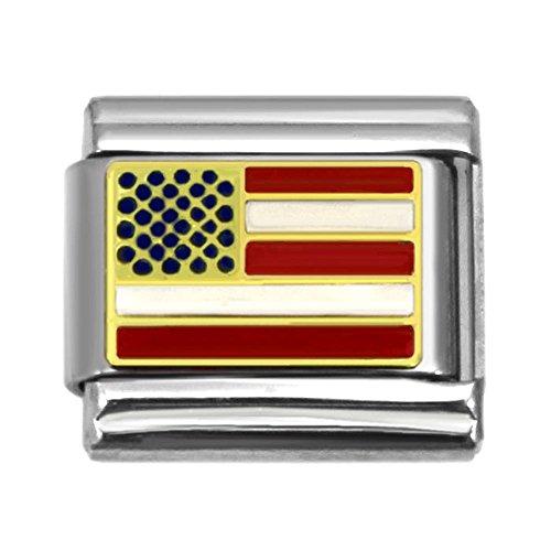 USA American Flag Italian Charm 9 mm Stainless Steel Bracelet Link