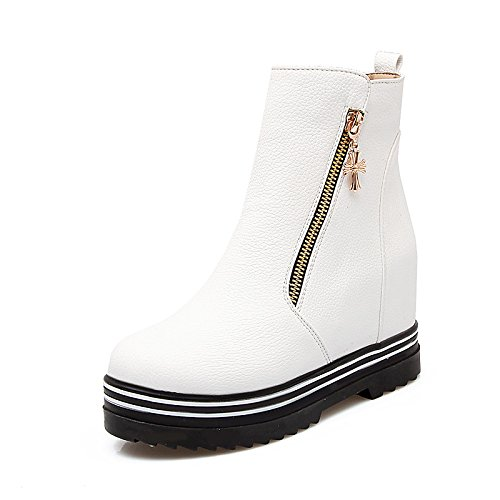 HSXZ Zapatos de mujer moda otoño invierno polipiel botas botas bota PLANA Y REDONDA Nulo Toe botines/Botines / para vestimenta casual rojo y negro White