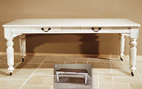Casa Padrino Vintage Pinien Esstisch Antik Stil Weiß Rustikal Massiv mit Schubladen - Landhaus Stil Tisch Pinienholz, Tisch Abmessungen:240 x 100 cm x 78 cm H