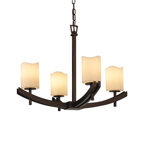 Justice Design Group CNDL-8590-14-CREM CandleAria 4 Light 1 Tier Chandelier, Matte Black Matte Black Candlearia Chandelier