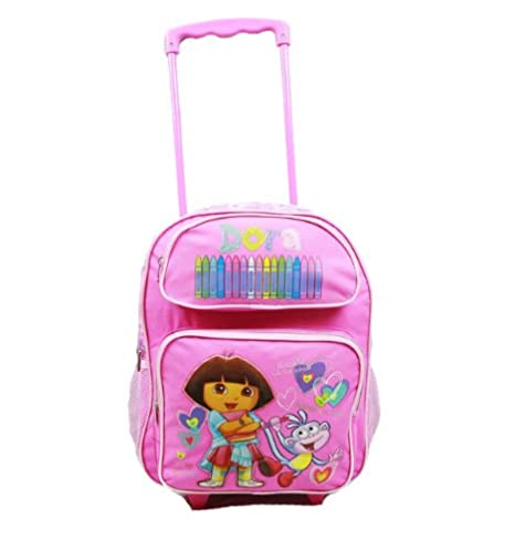 bc00506aa83e Image Unavailable. Image not available for. Color  Dora The Explorer Large  Rolling BackPack - Dora Large Rolling School Bag