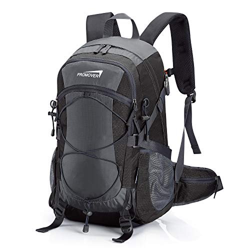 (Promover Hiking Backpack 35 L Waterproof Outdoor Rucksack with Rain Cover Lightweight Rucksack and Large Daypacks for Travel Camping Unisex(Dark Grey/Black))