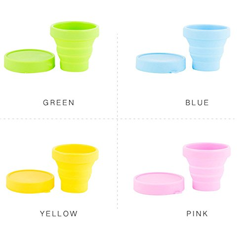 Fabura Set Of 4 Collapsible Portable Unbreakable Silicone Camping Travel Cups Food Grade Flexible Stemless Drinking Cups Wine Glasses Green Blue Orange Pink (Random Color)