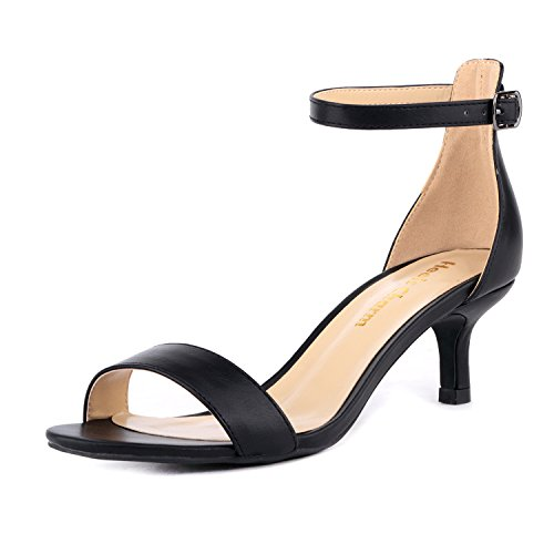 Women's Heeled Sandals Ankle Strap High Heels 5CM Open Toe Low Sandals Bridal Party Shoes Black Size 7.5