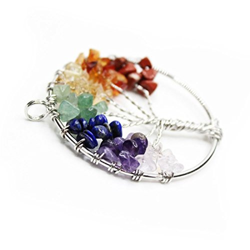 yoyoball8 Amulet Tree of Life Pendant Necklace Wire Wrapped Crystal Chips Seven Chakra Reiki Healing Stone Jewelry Gift for Baby Family Friend (Black),,2Pcs