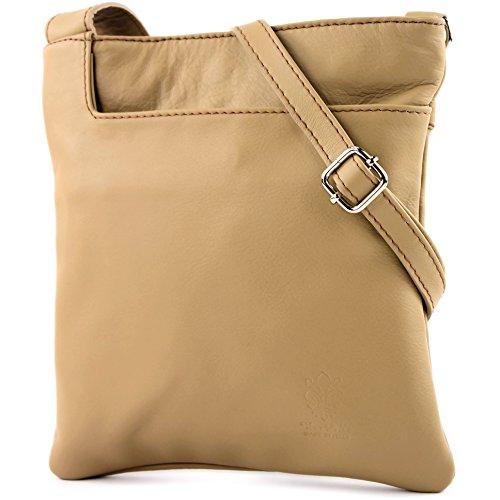 modamoda de - Made in Italy - Bolso cruzados para mujer marrón, amarillo
