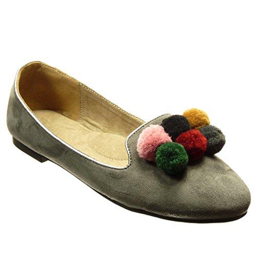Angkorly - Scarpe da Moda Mocassini slip-on donna pon pon Tacco a blocco 1 CM - Grigio