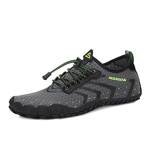 MOERDENG Men Women Water Shoes Quick Dry Barefoot Aqua Socks Swim Shoes for Pool Beach Walking Running (Dark grey) 12 M US Women / 10 M US Men by MOERDENG (Image #1)