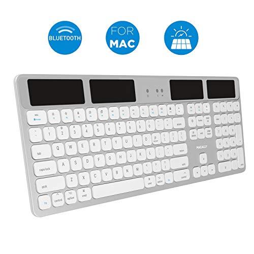 (Macally Bluetooth Wireless Solar Keyboard for Mac Mini/Pro, iMac Desktop Computers & Apple MacBook Pro/Air Laptops - Rechargeable Via Any Light Source - Caps Lock/Battery Indicators - Aluminum)