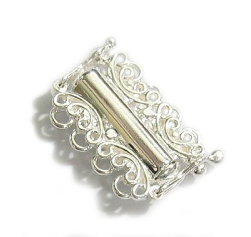 (1 pc Sterling Silver Butterfly 4 Strand/Row Lock Clasp Bracelet/Necklace Connector 13x19mm/Findings/Bright)