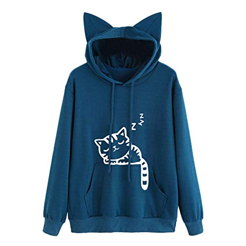 Wobuoke Womens Cute Cat Long Sleeve Cat Ear Hoodie Sweatshirt Hooded Pullover Tops Blouse