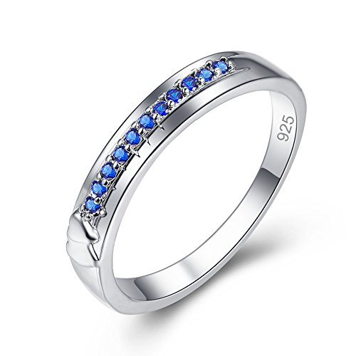 (Veunora 925 Sterling Silver Created Sapphire Quartz Filled Engraved Heart Love Band Ring Size 6)